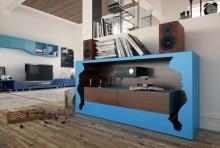 مدل زیر تلویزیون چوبی فانتزی شیشه ای استیل فلزی مدرن کتابخانه قفسه ال سی دی سینمای خانگی باند بلندگو