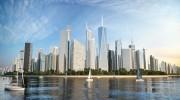 مدل سه بعدی آسمانخراش برج بلند روز شب