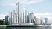 مدل سه بعدی برج آسمان خراش شیشه ای مسکونی تجاری تفریحی   تری دی مکس اسکچاپ آبجکت