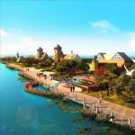 صحنه خارجی آماده رندر مجتمع مسکونی تفریحی کنار دریا رودخانه