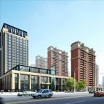 صحنه خارجی آماده رندر برج آسمان خراش مرکز خرید تجاری